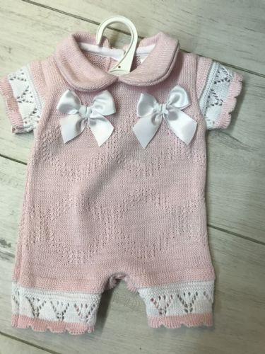 Pink Knitted Short Sleeve Romper